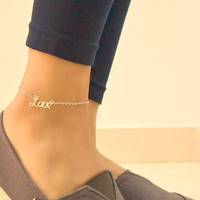 Love anklet - silver chain ankle bracelet with a silver love letters charm. delicate bracelet, dainty, gift for girlfriend, valentine's gift