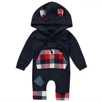 Ear Hooded Long Sleeve Jumpsuit for Boys