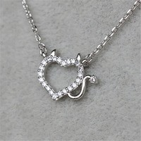 MP Micropave Setting of AAA Quality White Clear CZ Stones Thin Chain Full Pave Naughty Love Necklace Short Collarbone Necklace Wish Necklace Heart Shape Devil Horn Silver Color 18K Gold Plated Gift for Her ADP 0704