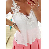 Sexy Summer Girls Women White Lace Blouse Tank Top Deep V Vest Tops