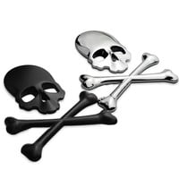 3D Skull Metal Skeleton Crossbones Car Motorcycle Sticker Label Skull Emblem Badge car styling stickers accessories decal = 1929701316
