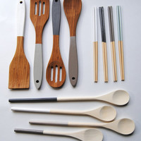 Thundercloud Collection - White, Grays - Housewarming Set - Dipped Chopsticks, Cooking Spoons, Bamboo Servers