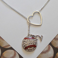 Baseball Lariat Necklace with Rhinestones, Heart and Number, handmade jewelry, pendant