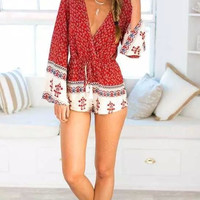 Red V-Neck Long-Sleeve Drawstring Romper