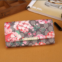 FLORAL PRINTED LEATHER GUICC PURSE WALLET
