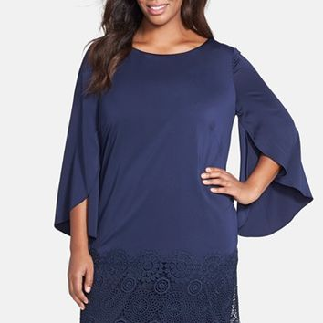 Plus Size Women's Tahari Lace Hem Drape Sleeve Crepe Shift Dress,