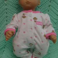 """American Girl Bitty Baby clothes """"Mommy's Cupcake"""" (15 inch) doll outfit with sleeper and headband hair clip monkeys cupcakes"""