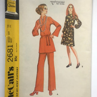 McCall's 2681 Sewing Pattern Mod Dress Top Pants Misses 14 New Uncut Vintage