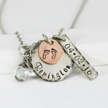 New Mom Necklace - Push Present -Sterling and Copper Antiqued Rustic Mothers Necklace -Personalized for Mom -New Baby Jewelry -Name Date Tag