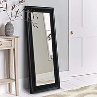 """67"""" Leaning Full Length Floor Mirror with Molded Wooden Framework, Brown By The Urban Port"""