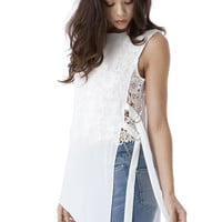 (amy) Open side sheer white top with crochet inside