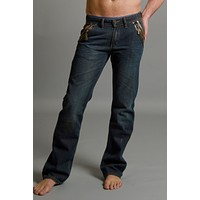 Smash Dark Denim Leather-Trim Jean