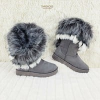 Furry Gray Faux Fur Lined Flat Winter Boots US Women's 7-11 Chi Chi