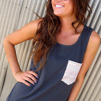 Gray + Aztec Pocket Tank | The Rage