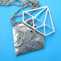 """Diamond Shaped """"This is Fake I am not"""" Pendant Necklace in Silver"""