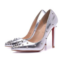 CL Christian Louboutin Women Rivet Pointed Toe Heels Shoes-5