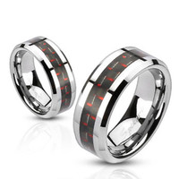 8mm Black and Red Carbon Fiber Inlay Band Ring Stainless Steel Men's Band