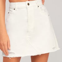 Claudia White Distressed Denim Mini Skirt