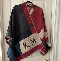 MADE FOR ME Plaid Monogram Poncho in multicolor -KM