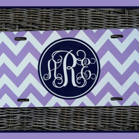 License Plate Monogrammed Gifts Personalized Car Tag Car Accessories Mobile Accessories Gift Ideas For Her Travel Sweet 16 Orchid and Purple