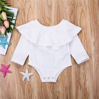 Newborn Toddler Baby Girls Off Shoulder Romper Bodysuit Jumpsuit Outfits Clothes