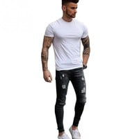 Men Casual Skinny Stretch Ripped Hole Pencil Pants Denim Ripped Middle Waist Slim Fit Fashion zippered Jeans