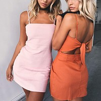 Solid Color Fashion Back Hollow Knotted Backless Sleeveless Strap Mini Dress
