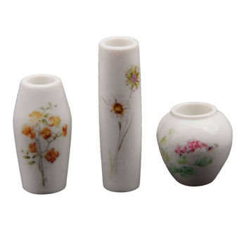 High Quality Unisex ABS Porcelain 3pcs Doll House Miniature Flower Vase with Floral Printed Dollshouse Gift Decoration Accessory