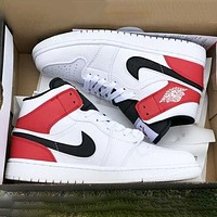 AJ1 Air Jordan 1 OG Trending Women Men Casual Sport Basketball Shoes Sneakers White&Red
