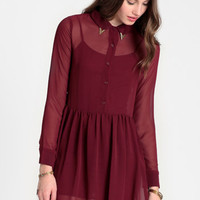 Sangria Night Collar Tip Dress - $44.00: ThreadSence, Women's Indie & Bohemian Clothing, Dresses, & Accessories