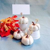 4 White Pumpkin Place Card Holders, Fall Wedding Decoration, Thanksgiving Table Setting, Harvest, Party Favor, Halloween