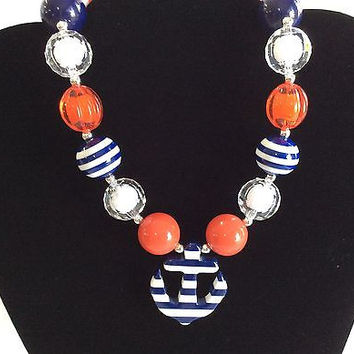 Red White & Blue Chunky Anchor Necklace