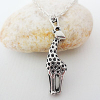 Giraffe Necklace, Silver Hypoallergenic Chain With Clasp