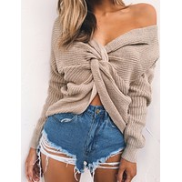 2-WAY KNITTED SWEATER -- V-NECK AND TWISTED BACK OR FRONT
