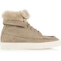 Common Projects - Faux shearling-lined brushed-suede ankle boots