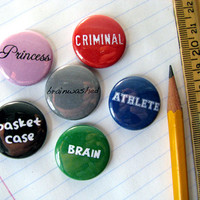 The Breakfast Club - Magnets or Buttons (set of 6)