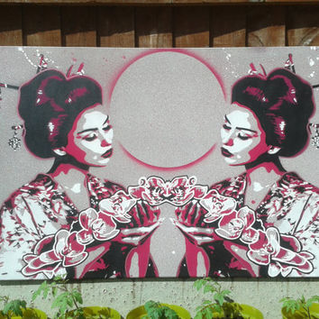 Geisha with lilies,painting,box canvas,stencil art,spray paints,asian,oriental,marble,flowers,beauty,black,pink,street art,symmetry,Japanese