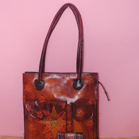 Vintage 1990s Tooled Leather SUN and MOON tote bag with matching mini change purse