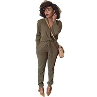 Casual Fashion Regular Sexy Women Jumpsuit Long Sleeve Tie Waist V-neck Rompers Bodysuit Formal Work Office Jumpsuit Playsuit