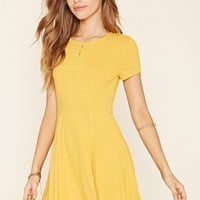 Ribbed Cutout Skater Dress