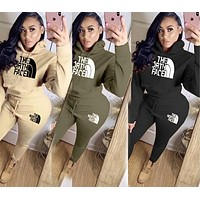 The North Face New fashion letter hooded long sleeve top sweater and pants two piece suit