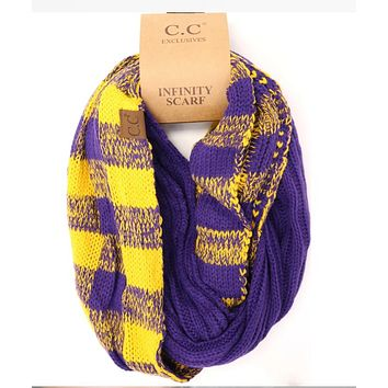 LSU Purple and Gold CC Buffalo Check Game Day Infinity Scarf