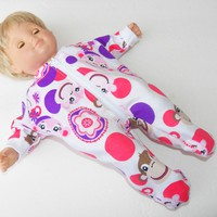 """Pajamas, BITTY BABY  girl Clothes, doll clothes, 15"""" twin, Purple Pink Monkey, Flannel, Pajamas"""