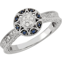 14k White Gold Blue Sapphire & Diamond Engraved Design Ring