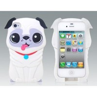 3D Cute Cartoon Dogs Puppy Detachable Protective Hard Case for iPhone4 4S 4GS White