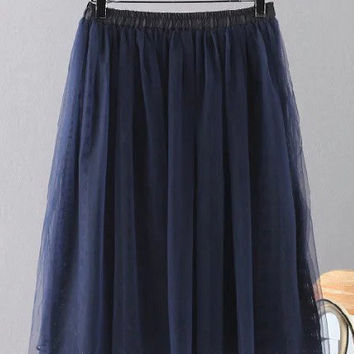Navy Elastic Waist Pleated Skirt