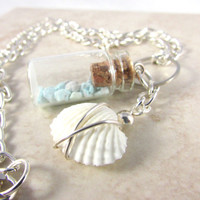 Shell Necklace, Healing Necklace, Mexican Turquoise Necklace, Reiki Necklace, Bottle Necklace, Natural Inspired Necklace, Beach Necklace