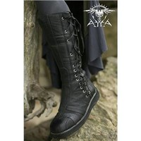 Matte Black Spiral Moto Leather Lace-up Knee-high Boots by Ayyawear, Motorcycle Friendly Warranty . Verillas