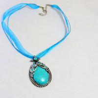 Turquoise Pendant Necklace, Ribbon Necklace,classic style