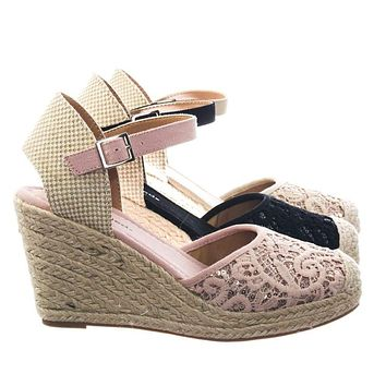 Queena by Classified Espadrille Platform Wedge w Floral Crochet Lace w Sequins Shoes